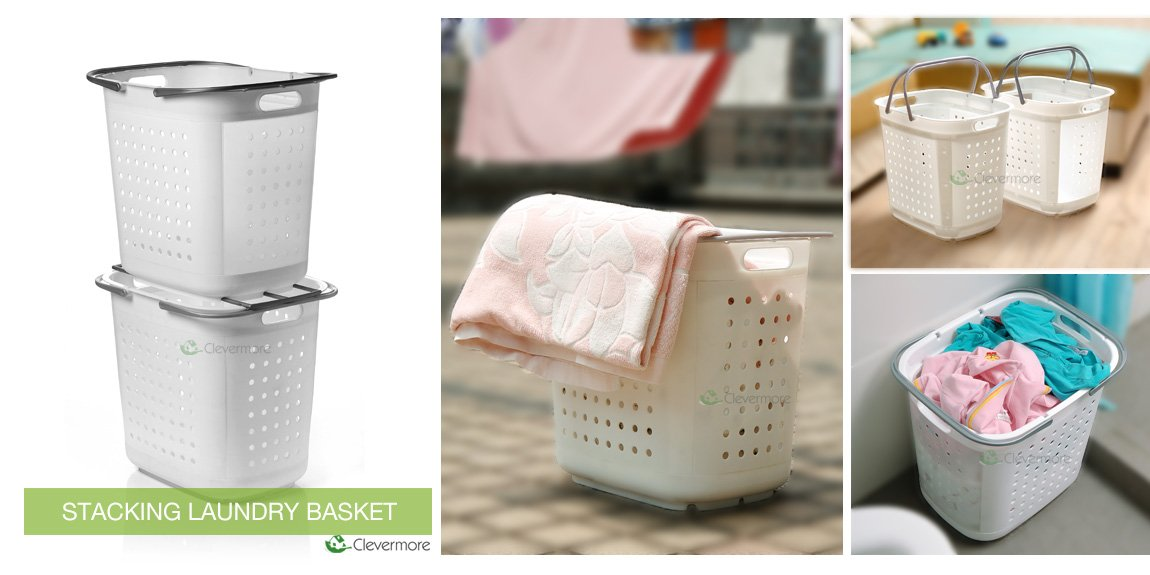 Stackable Laundry Baskets Gorgeous Stacking Laundry Basket Clothes Storage Hamper MultiPurpose